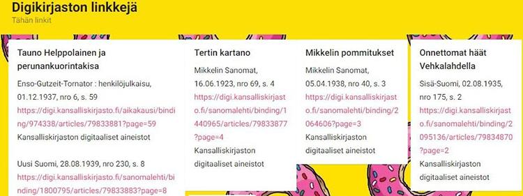Kuvassa näkyy esimerkkejä linkeistä digikirjaston digitoimiin artikkeleihin.