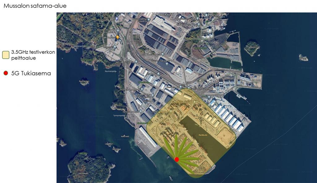 Kuvassa näkyy ilmakuva Kotkan satamasta. Karttaan on merkitty värialueella viiden neliökilometrin alue. Tällä alueella toimii nopea 5G-testiverkko.