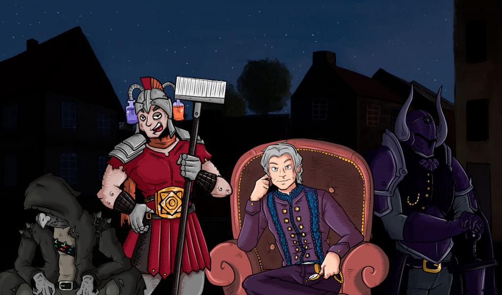 Kuvassa Hamina 1810 -pelin hahmoja rivissä, Haminan kaupungin yöllinen kaupunkiympäristö taustana. Vasemmalta oikealle hahmojen kuvaukset: Epäilyttävän näköinen huppupäinen kauppiashahmo, soturiksi pukeutunut siivoojahahmo, Haminan pormestari aatelisten vaatteissa istumassa nojatuolissa sekä viimeisenä miekkaan nojaava, seisova hahmo joka on pukeutunut pimeän värisiin ilkeänoloiseen haarniskaan.