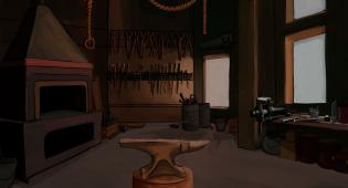 Kuvituskuva Hamina 1810 -pelin Haminan sepän työpajasta josta löytyy alaisin sekä paljon sepälle hyödyllisiä työkaluja: pihtejä, vasaroita, sahoja ja viiloja.