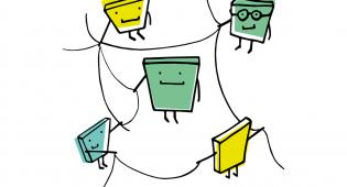 Piirroskuvassa näkyy viisi laatikkoa, joilla on kasvot. Hahmot pitävät kiinni naruista, joista muodostuu neliö yhden hahmon ympärille, joka myös pitää narusta kiinni.