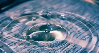 Kuvassa veden pinta, johon tippuu pisara. Pisara saa aikaan veden pinnassa ympyränmuotoisia väreitä. Vedenpinnan alapuolella näkyy auki oleva kirjan sivu.