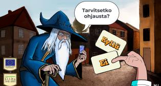 Kuvassa näkymä Hamina-pelistä. Kuvassa vasemmalla sinipuikuinen, valkopartainen velhohahmo kysyy osallistujalta, tarvitsetko ohjausta. Kuvan oikealla puolella näkyy käsi, joka pitää kahta korttia. Toisessa kortissa lukee Kyllä, toisessa Ei.
