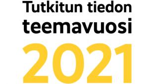 Kuvassa Tutkitun tiedon teemavuoden logo.
