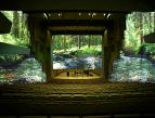 Havainnekuva, miltä konserttisali näyttää, kun seinille on heijastettu suomalaista luontoa. Luontokuva näkyy sekä esiintymislavan takana että sivuilla.
