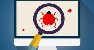 Piirroksessa on tietokoneen näyttö, jossa kolme ötökkää, bugia. Niistä keskimmäinen näkyy isona suurennuslasin läpi tarkasteltuna.