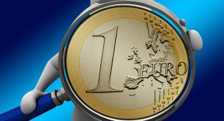 Kuvituskuva: valkoisen hahmon kädessä on suurennuslasi, jossa näkyy isona euron kolikko.