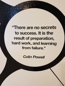 """Kuvassa mietelause: """"There are no secrets to success. It is the result of preparation, hard work, and learning from failure."""" - Colin Powell."""