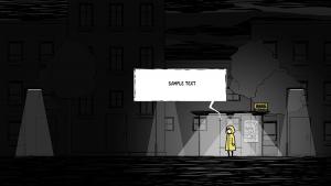 Piirretty kuva tummasta katunäkymästä, jossa on yksi hahmo.