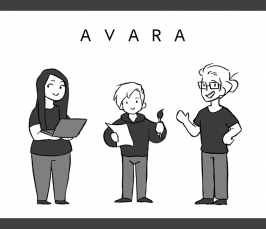 Team Avaran Bit1-tiimin kolme jäsentä piirrettyinä profiilikuvassa.