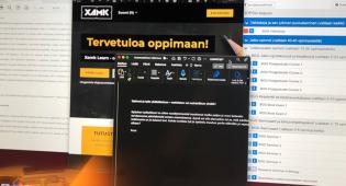 Kuvassa tietokoneen näyttö, jossa on avoinna kolme, neljä opiskeluun liittyvää ikkunaa.