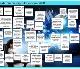 Kooste työpajan ajatuksista aiheella loistavasti toimiva digituki vuonna 2031. Esimerkkejä ajatuksista: puheohjaus toimii paljon paremmin, robottikaveri, jokaiselle muotoutumassa oma digitaalinen kupla.