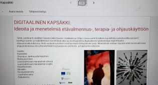 Kuvassa Digitaalisen Kapsäkin aloitusnäkymä tietokoneen näytöllä.