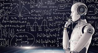 Kuvituskuva: kuvan oikeassa reunassa on robotti, jonka asento kuvasta miettimistä. Taustalla näkyy monimutkaisia matemaattisia kaavoja.